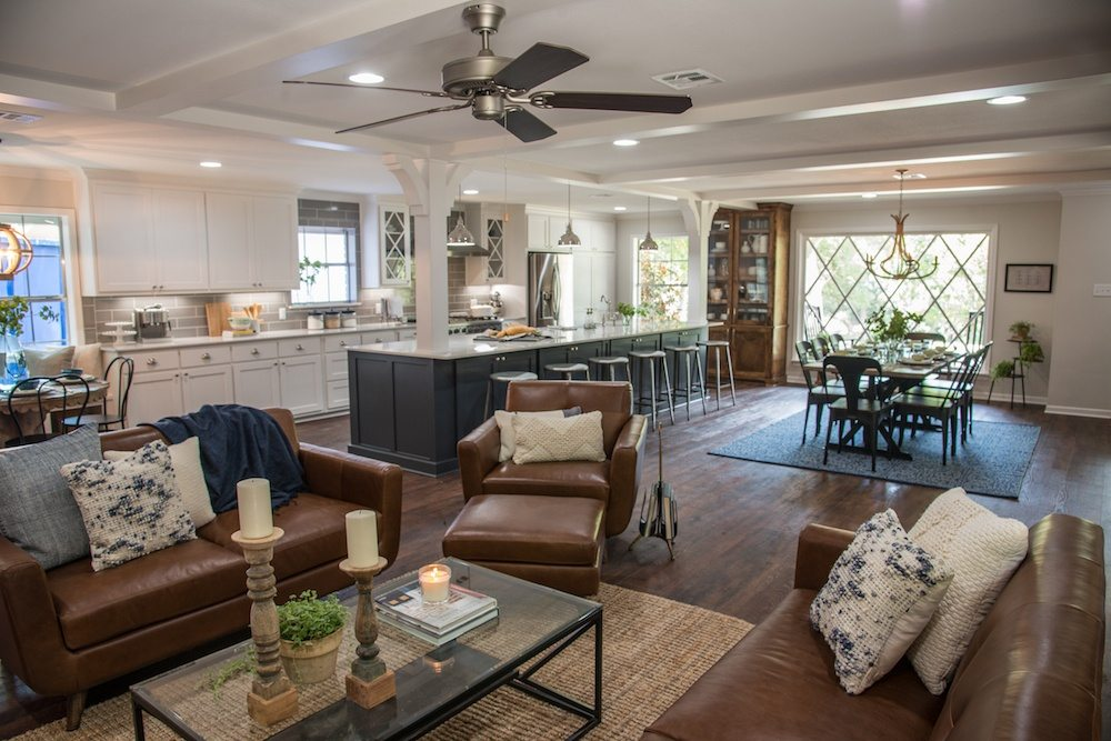 Open concept living room dining room kitchen
